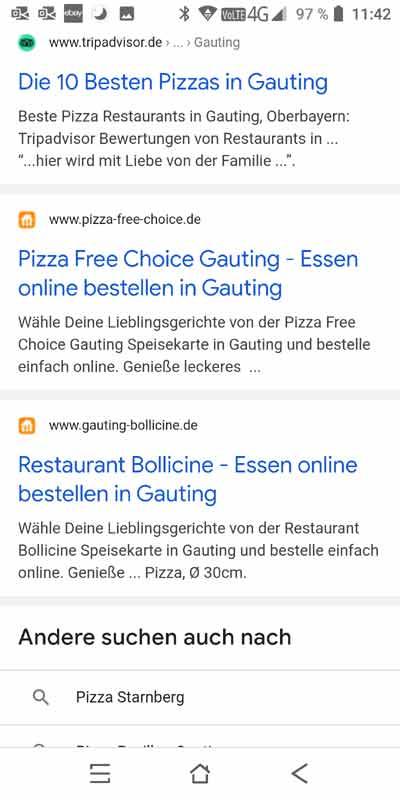 Organische Suchergebnisse mobil